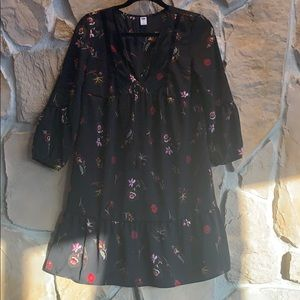 Old Navy Black and Red Floral Dress